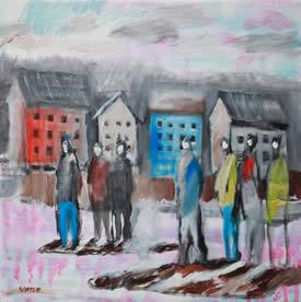 Menneskemengde foran hus